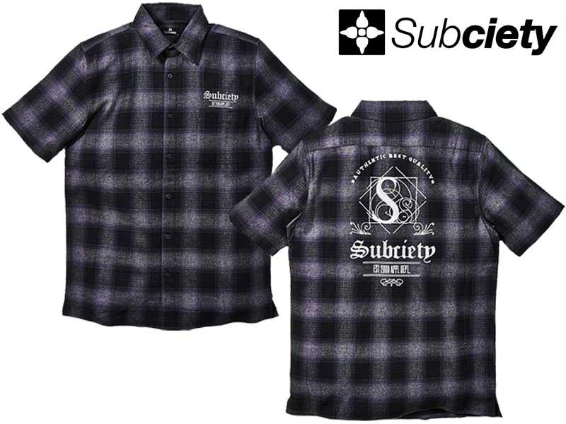 Subciety サブサエティ 10423 OMBRE CHECK SHIRT S/S-THRON- チェック 半袖 シャツ ワークシャツ ストリート ファッション