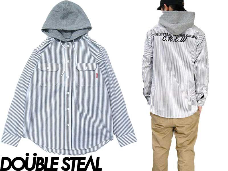DOUBLE STEAL ダブルスティール Hooded Backprint Shirt 771-69001 シャツ フード ストライプ ボーダー フードシャツ ボタン カジュアル ストリート