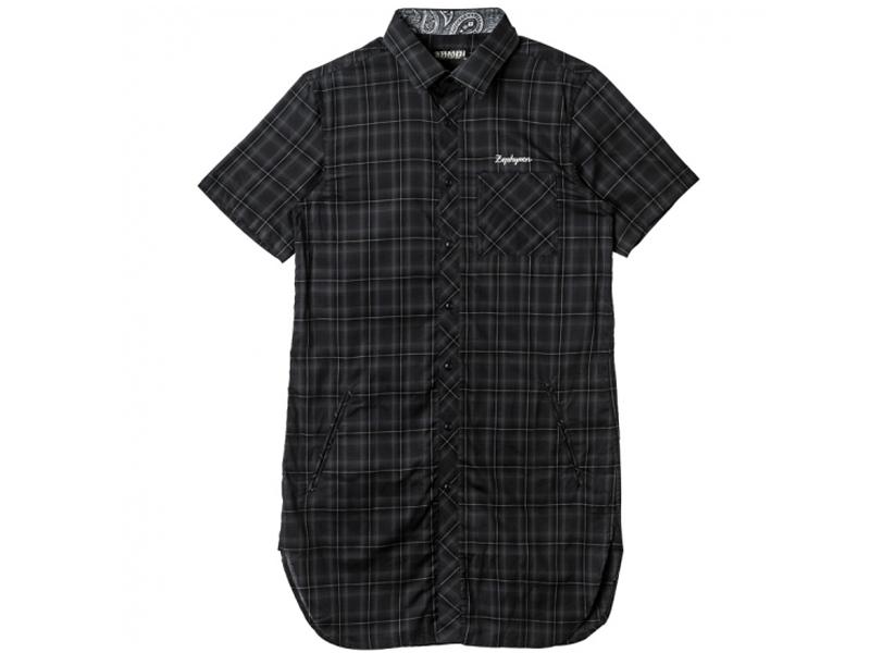 【ZEPHYREN ゼファレン】 Z17PC03 LONG CHECK SHIRT S/S ロング丈 半袖 シャツ ボタンシャツ トップス ストリート