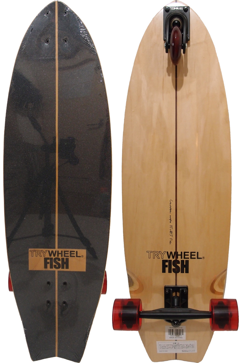 Three TRY WHEEL try wheel FISH fish skateboarding surf skating 35 inches Canadian Maple surfing land tray SURF
