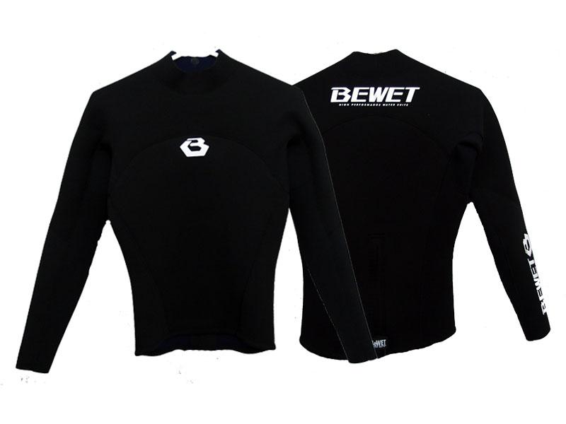 【BE WET/ビーウェット】メンズ 男性2mm ウェットスーツ ローネックジャケット ロング スリーブ タッパー 長袖タッパー サーフフィン ブラックラバー ブラック ジャージ