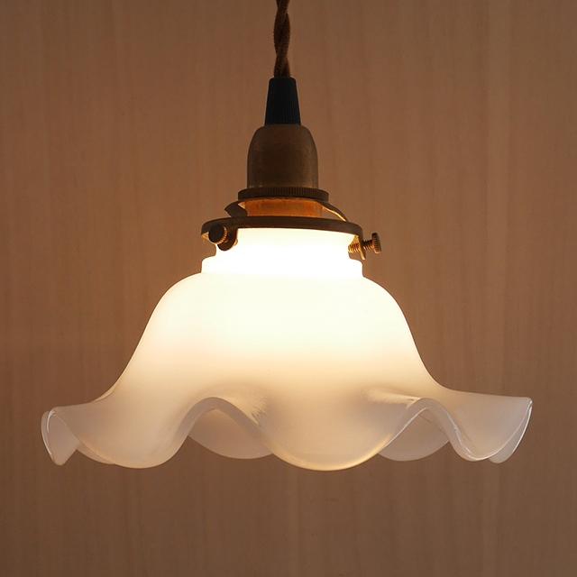 おしゃれ 照明 照明器具 電気 ガラス ライト【ミルクグラス ランプシェード ウェーブM】