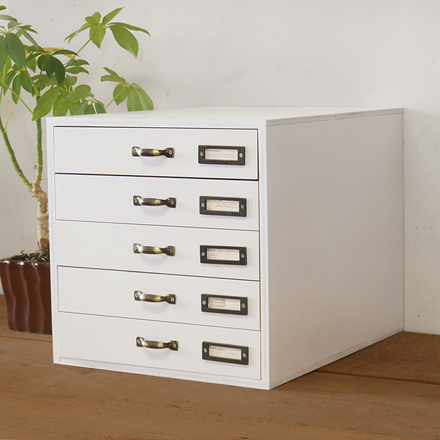 木製 書類ケース A4サイズ アンティーク 5段 引き出し収納レターケース ホワイト BREA
