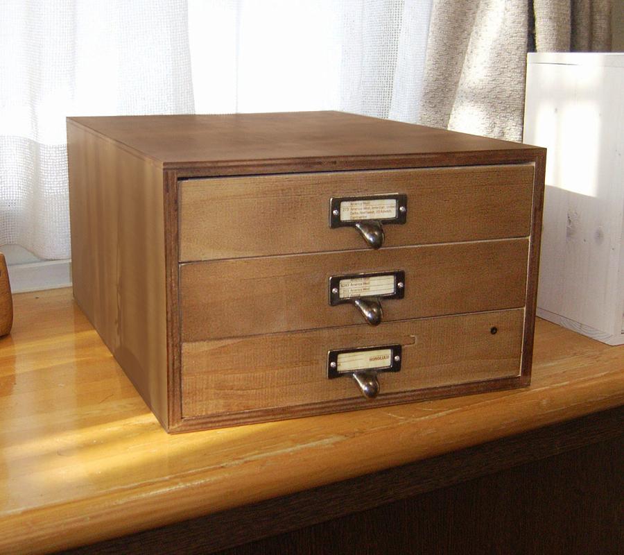 木製書類ケース A4サイズ アンティーク 3段 引き出し収納 ホワイト ダークブラウン BREA