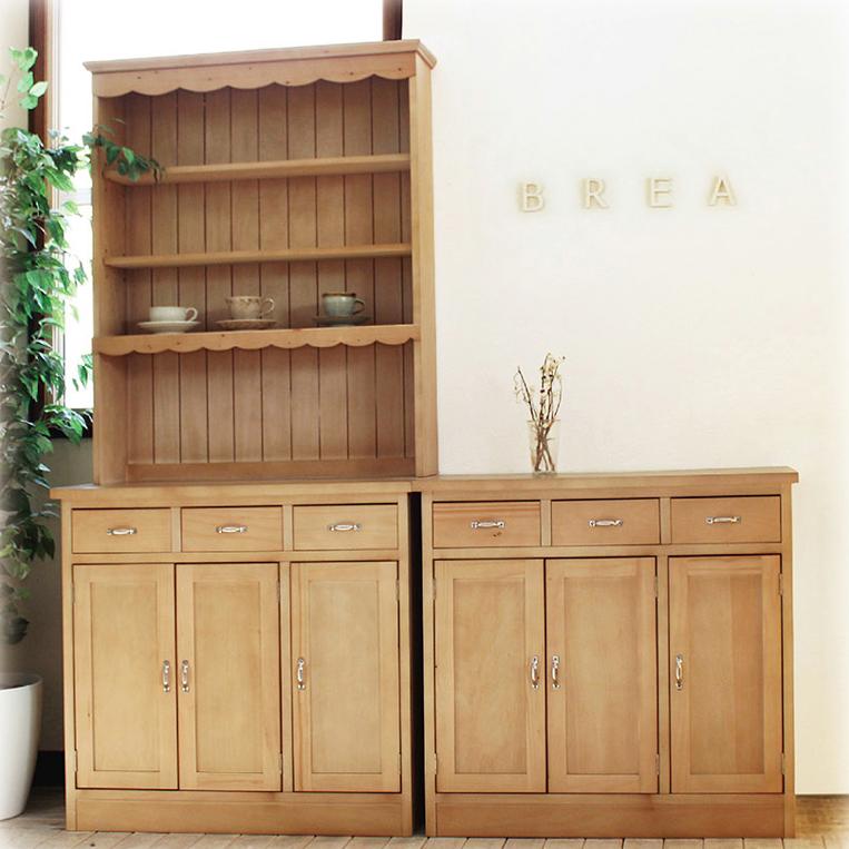 【BREA】木製 カップボードB キッチン ボード/収納/飾り棚/キャビネット/食器棚/カントリー/北欧/西海岸