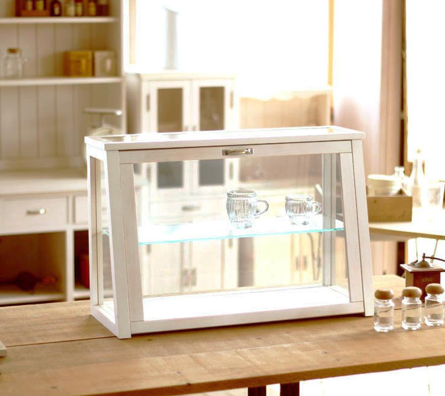 【BREA】木製 ガラスショーケースNo.2 ホワイト /アンティーク/ショーケース/コレクションケース/日本製/男前/西海岸/ブルックリン