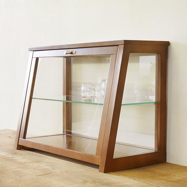 【BREA】木製 ガラスショーケースNo.2 ダークブラウン /アンティーク/ショーケース/コレクションケース/日本製/男前/西海岸/ブルックリン