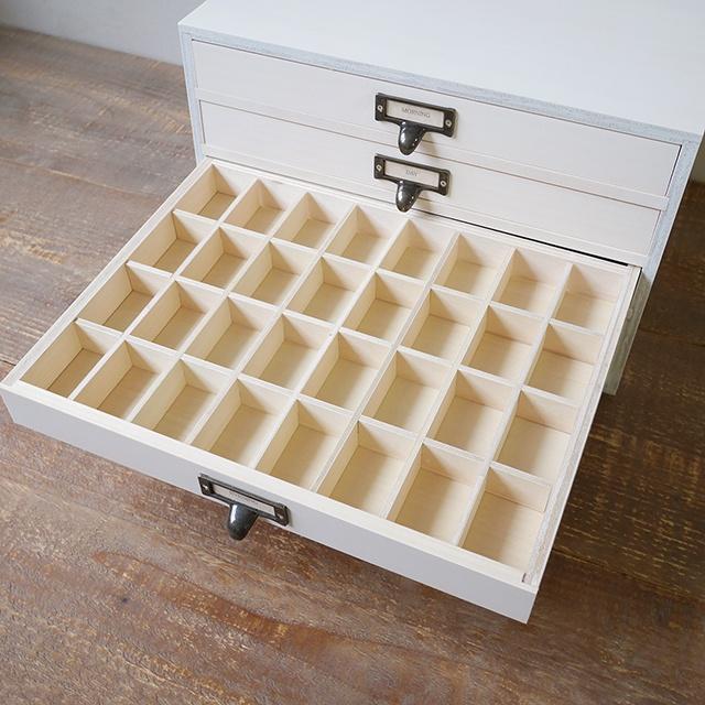 木製 書類ケース A4サイズ アンティーク 仕切りつき 引き出し4段 ホワイト BREA