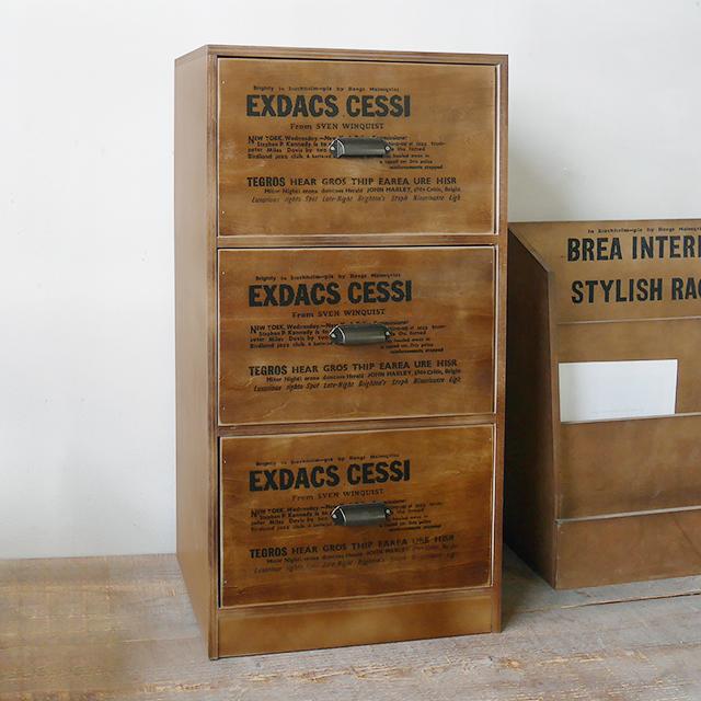 木箱 収納ボックス アンティーク ストッカーラック3段/男前/西海岸/ブルックリン/おもちゃ箱