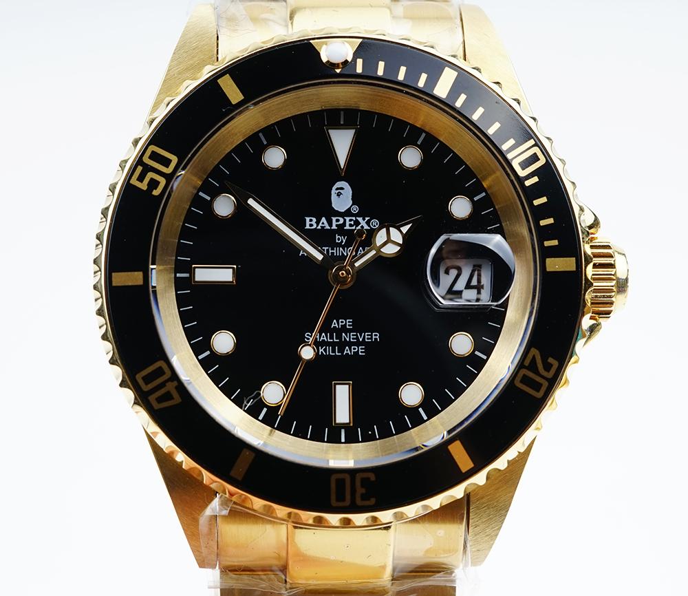 新品 現品 A BATHING APE ア ベイシング エイプ 特価品コーナー☆ Bapex T001シリーズ Rolex 自動巻き Submariner タイプ 40mm ロレックス 腕時計#33900 サブマリーナー