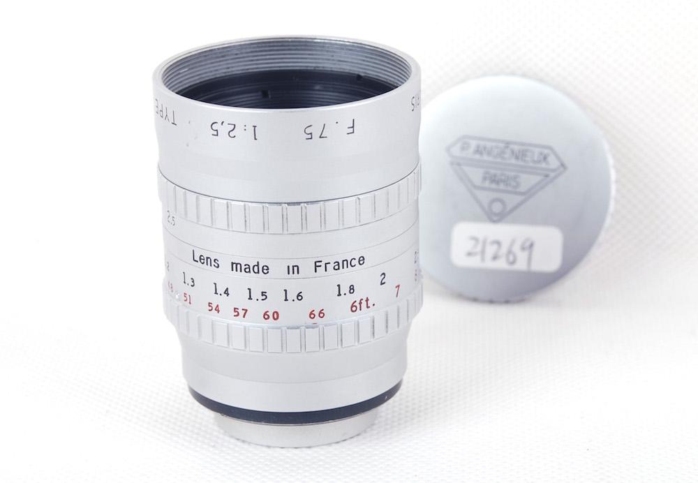 【美品】Angenieux/アンジェニュー paris type P3 75/2.5 F.75 シルバー フィルムレンズ Cマウント#JP21269