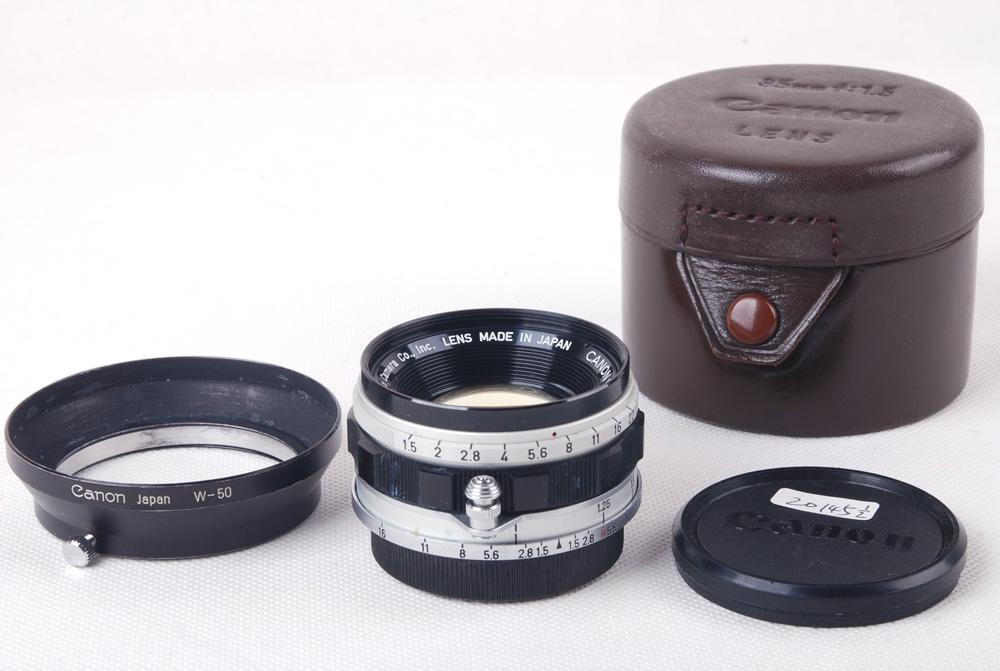 【コレクション美品】Canon/キャノン 35/1.5 LTM ライカL39口 W-50フード付き レンズ#jp20145