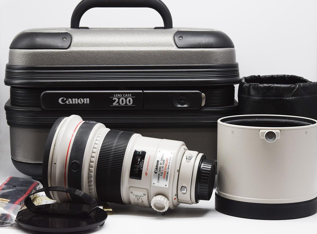 【美品】Canon/キャノン EF 200mm F2 L IS USM 望遠Lレンズ アルミ箱付き#HK8230X