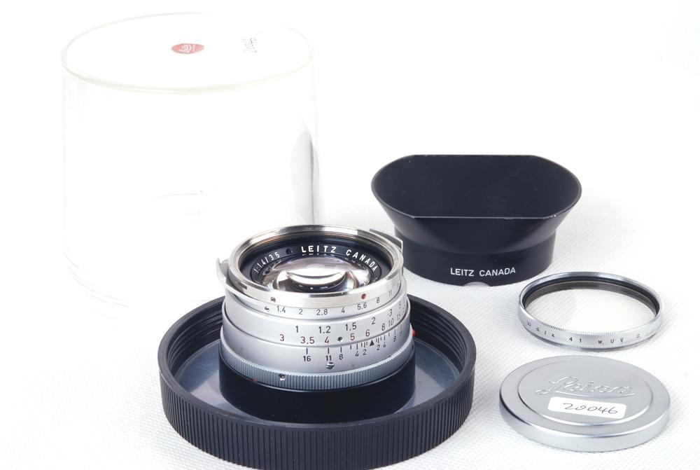 【コレクション品】Leica/ライカ Summilux-M 35/1.4 第一世代シルバースチール口OLLUXフード付き#jp20046