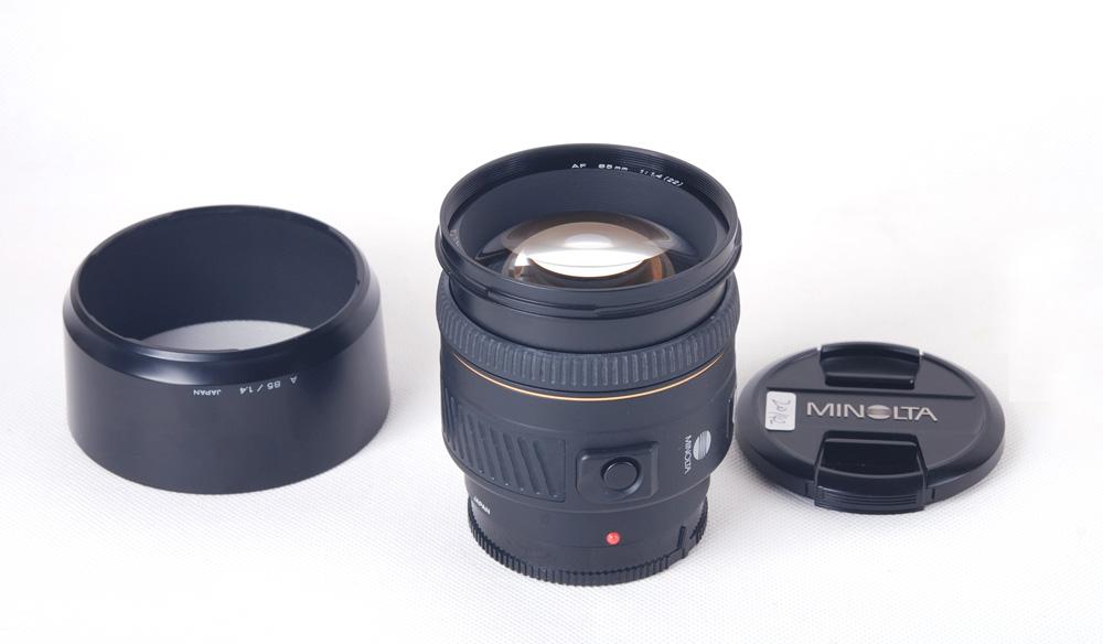 【美品】Minolta/ミノルタ AF 85/1.4 G (22)レンズ フード付き#jp20142