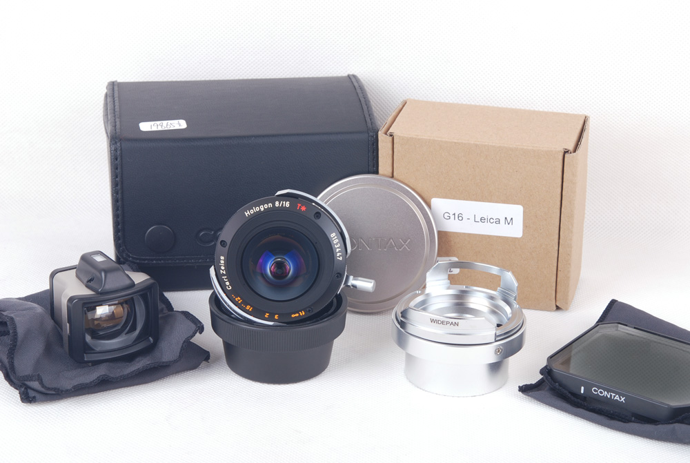 【美品】Contax/コンタックス Zeiss Hologon T* 16/8 G G1/G2/Leica M両用差込カップリング G-M専用リング付き#jp19865