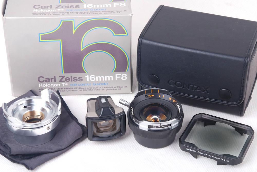 【美品】Contax/コンタックス Zeiss Hologon T* 16/8 G G1/G2/Leica M両用マウント G-M専用アダプター付き