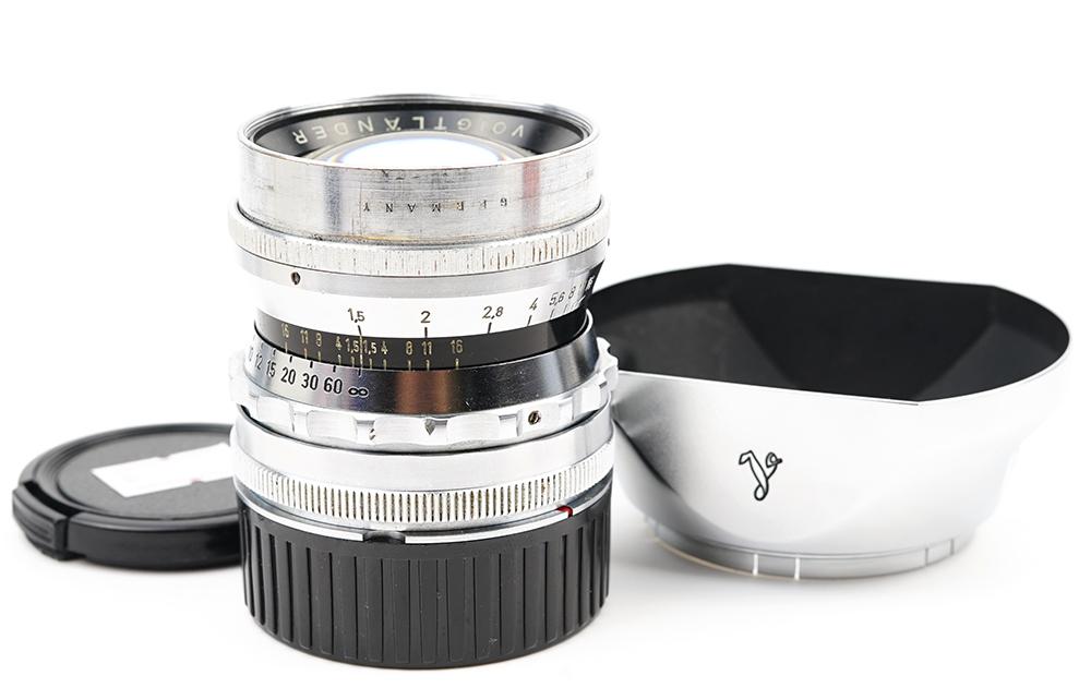 【良品】voigtlander/フォクトレンダー Nokton 50/1.5 原産ライカL39マウント 原産フード付き#33726