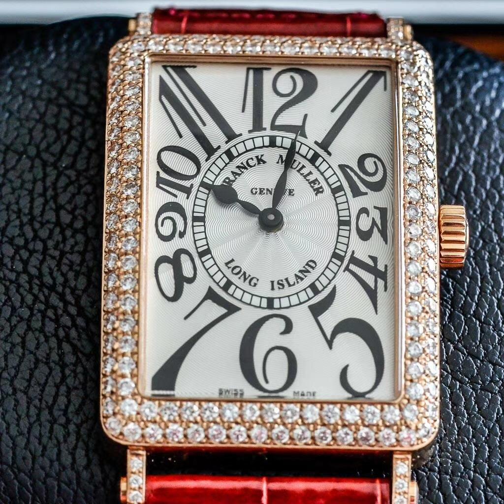 【特価新品】FRANCK MULLER/フランク・ミュラー LONG ISLAND 1002 QZ D 5N ピンクゴールド ダイヤモンド シルバー クォーツムーブメント レーディス腕時計 #FM005