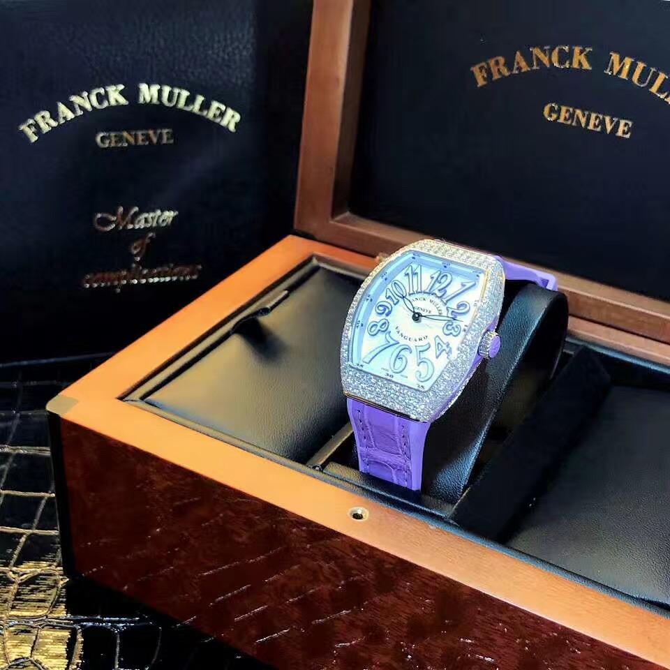 【新品】FRANCK MULLER/フランクミュラー V32 QZ D AC VL ピンクパープル ダイヤモンド レーディス腕時計 #FM009