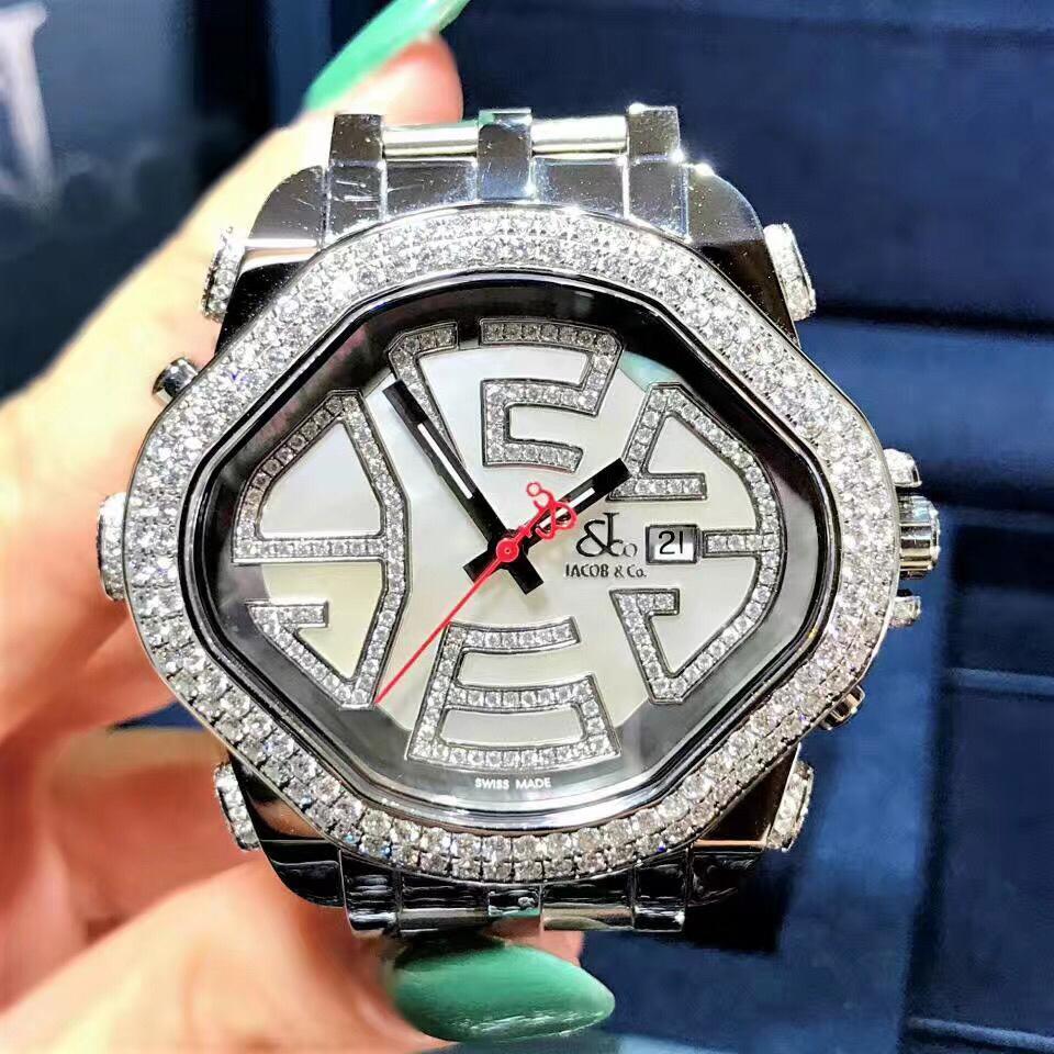【新品】Jacob&Co/ジェイコブ PARK5 プリズムダイヤモンドベゼル レーディス腕時計 ステンレススチール 42x48mm 新品セット#HKJC099
