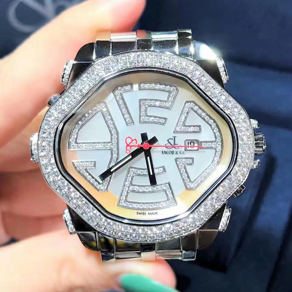 【新品】Jacob&Co/ジェイコブ PARK6 プリズムダイヤモンドベゼル レーディス腕時計 ステンレススチール 42x48mm 新品セット#HKJC098