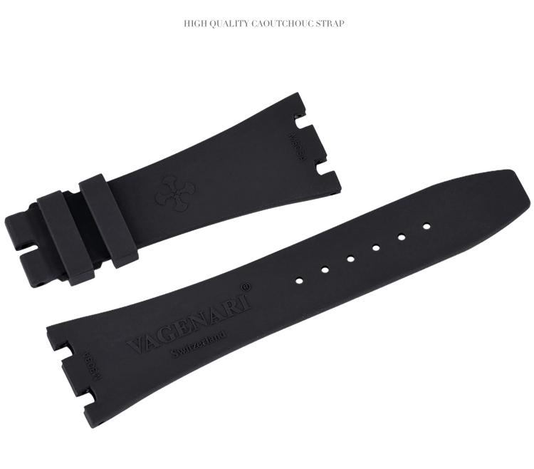 Vagenari ロイヤルオークAP 15400 15300 26320 26331 41MMに適用 ラバー ストラップ/ベルト ブラック