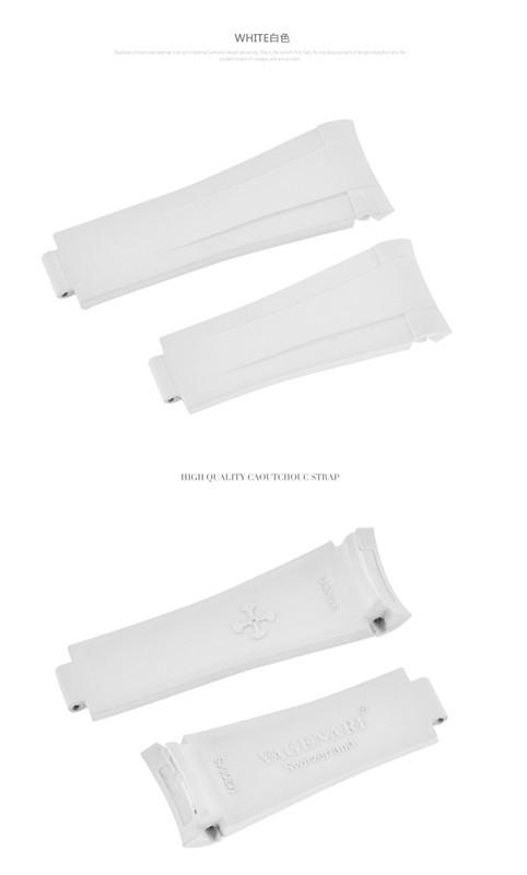 Rolex Submariner/ロレックス サブマリーナー 116610 116613 114060 レディース適用 VAGENARI ラバー ストラップ/ベルト ホワイト