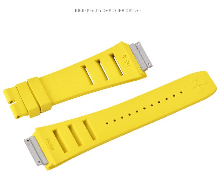 Richard Mille リチャード・ミラー RM010 RM029用ベルト Vagenari ラバー ウオッチ ストラップ 黄色 Yellow