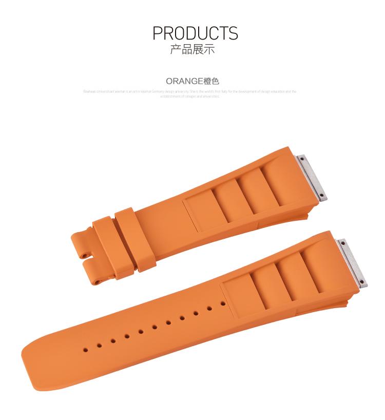 Rolex/ロレックス/ MasterII/マスターII GMT 116710、16710適用 VAGENARI ラバー ストラップ/ベルト オレンジ