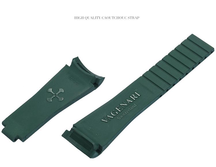 Rolex/ロレックス/ MasterII/マスターII GMT 116710、16710適用 VAGENARI ラバー ストラップ/ベルト マーミーグリーン