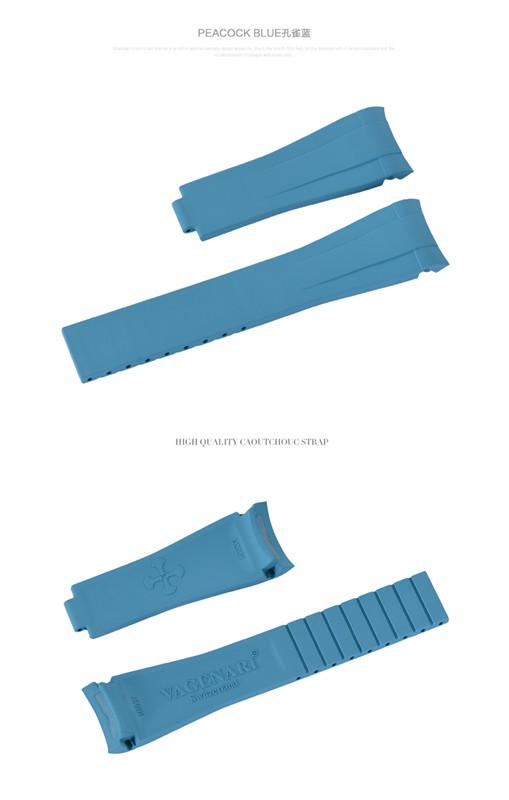 Rolex/ロレックス Yacht Master/ヨットマスタ 116622適用 VAGENARI ラバー ストラップ/ベルト ブルー