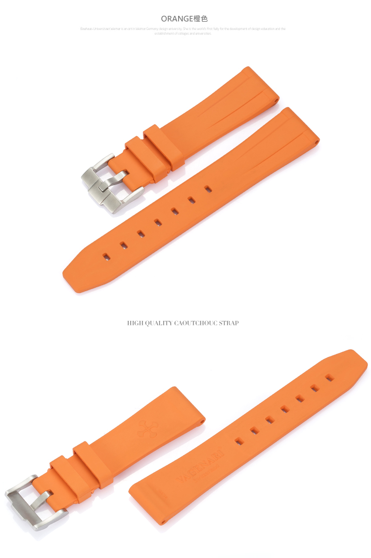 All type/通用タイプ Vagenari 20mm ラバー ストラップ/ベルト バックル付き オレンジ
