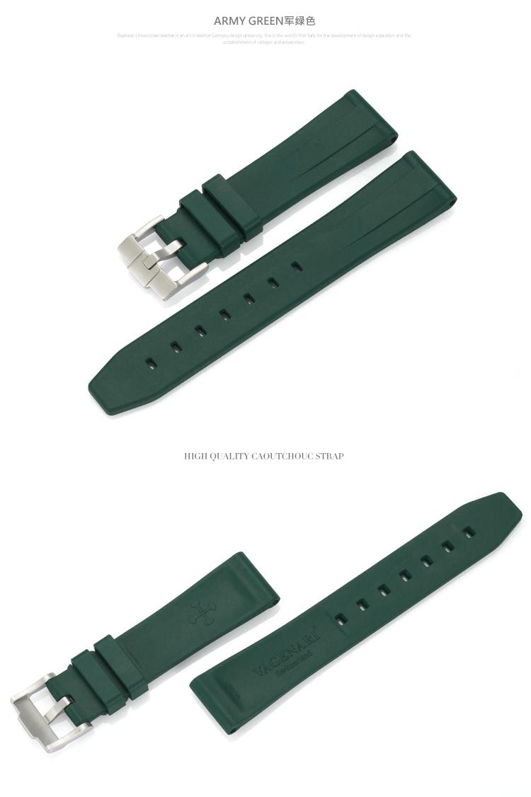 All type/通用タイプ Vagenari 20mm ラバー ストラップ/ベルト バックル付き アーミーグリーン