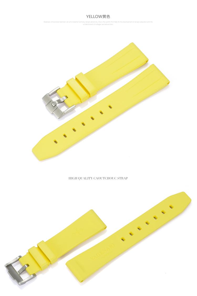 All type/通用タイプ Vagenari 20mm ラバー ストラップ/ベルト バックル付き 黄色