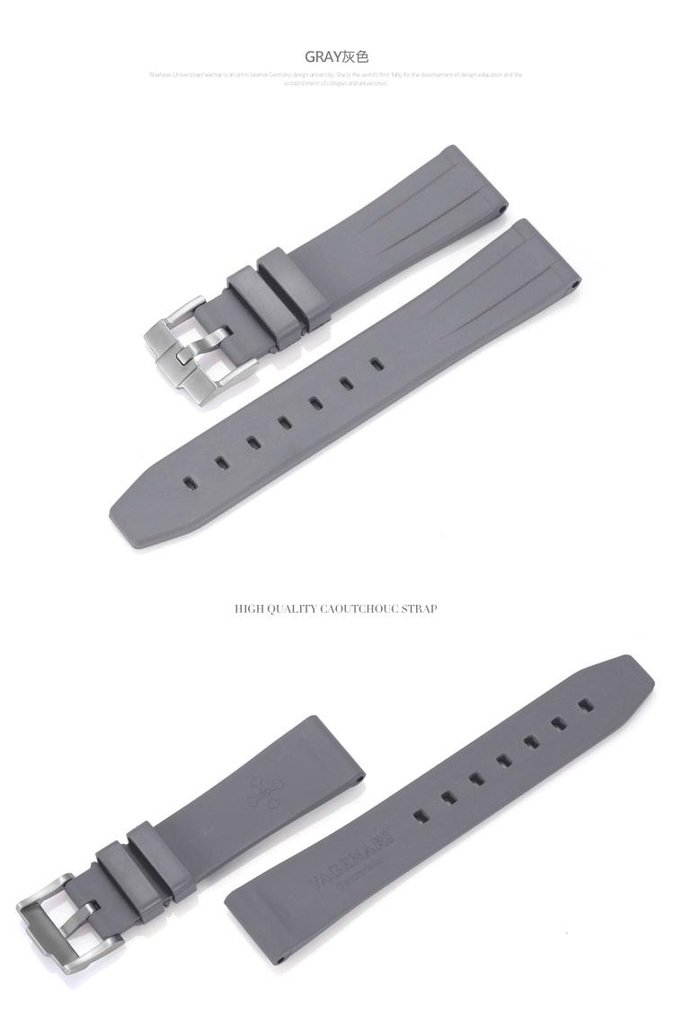 All type/通用タイプ Vagenari 20mm ラバー ストラップ/ベルト バックル付き グレー