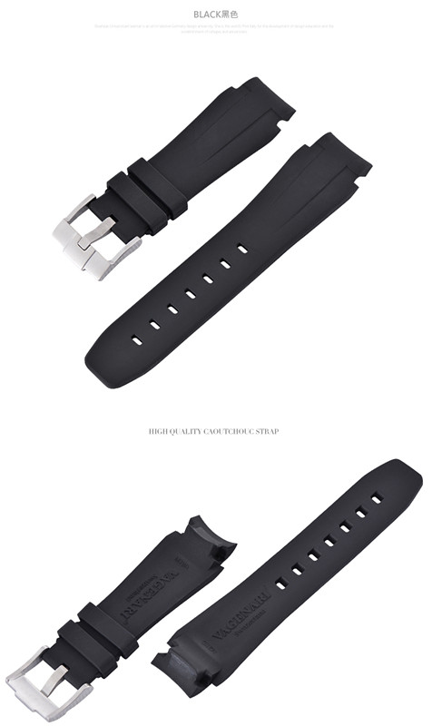 Rolex/ロレックス DeepSea/ディープシー 116660適用VAGENARI ラバー ストラップ/ベルト バックル付き ブラック