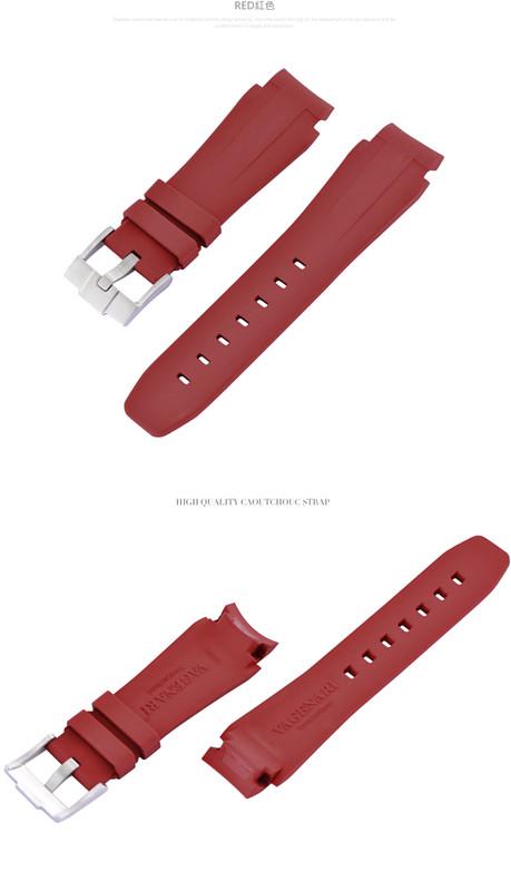 Rolex/ロレックス DeepSea/ディープシー 116660適用VAGENARI ラバー ストラップ/ベルト バックル付き 赤