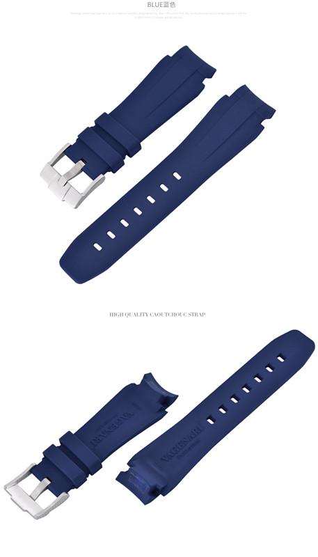 Rolex/ロレックス DeepSea/ディープシー 116660適用VAGENARI ラバー ストラップ/ベルト バックル付き ブルー