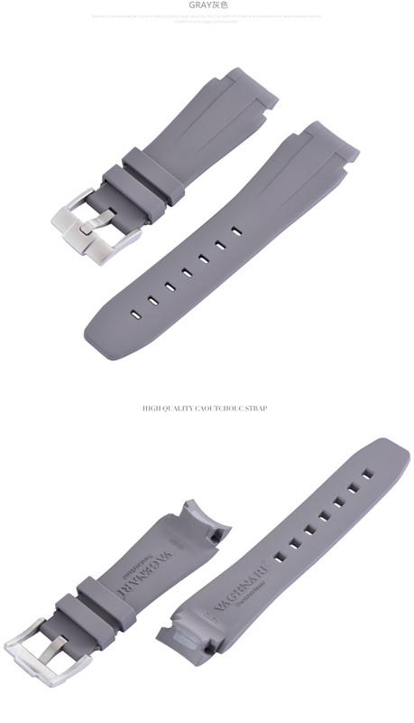 Rolex/ロレックス DeepSea/ディープシー 44mm 116660に適用VAGENARI ラバー ストラップ/ベルト バックル付き グレー