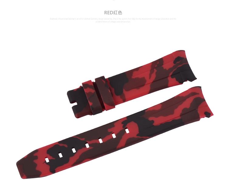 ロレックス/Rolex デイトナ/Daytona 116500、116503、116520、116523適用 VAGENARI ラバー ストラップ/ベルト バックル付き カモフラージュ/迷彩 赤