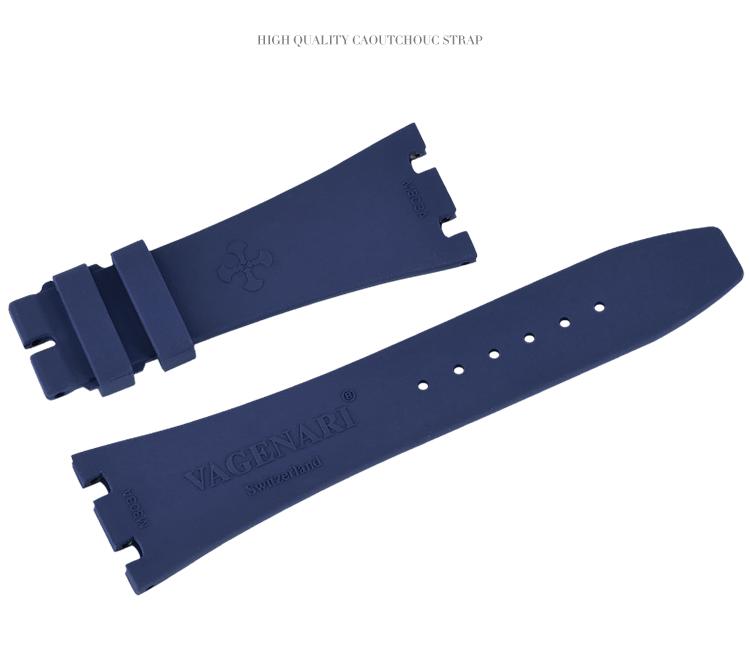 ロイヤルオークAP 15400 26320 41MMに適用 Vagenari ラバー ウオッチ ストラップ/ベルト ブルー