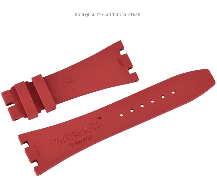 ロイヤルオークAP 15400 26320 41MMに適用 Vagenari ラバー ウオッチ ストラップ/ベルト 赤