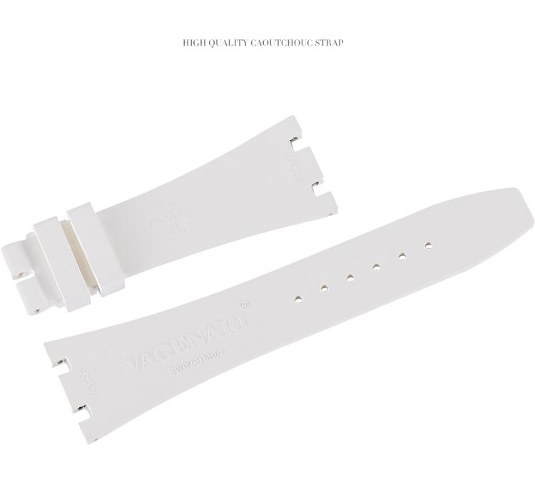 ロイヤルオークAP 15400 26320 41MM適用する Vagenari ラバー ウオッチ ストラップ ホワイト