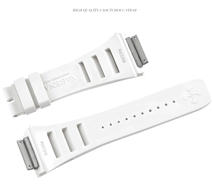 Richard Mille/リチャード・ミラー RM030 RM035 RM055に適用 Vagenari ラバー ストラップ/ベルト ホワイト
