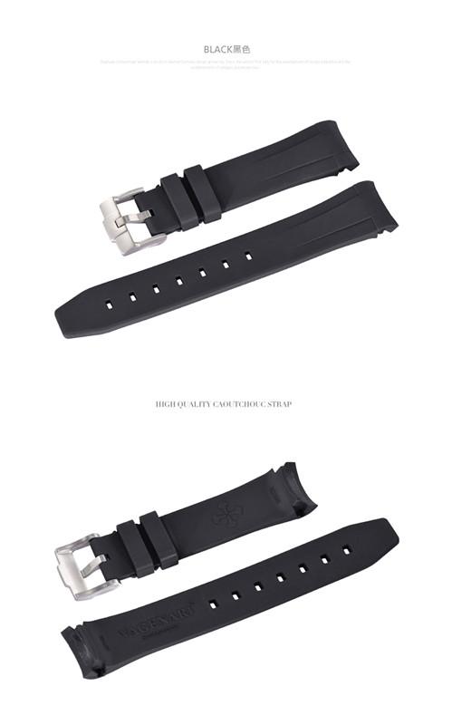 Rolex/ロレックス Sea-Dweller 116600に適用 VAGENARI ラバー ストラップ/ベルト バックル付 ブラック