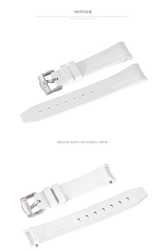 Rolex/ロレックス Sea-Dweller 116600に適用 VAGENARI ラバー ストラップ/ベルト バックル付 ホワイト