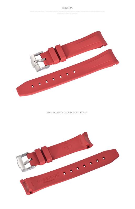 Rolex/ロレックス Sea-Dweller 116600に適用 VAGENARI ラバー ストラップ/ベルト バックル付 レッド