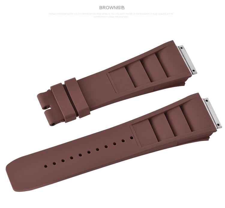 Richard Mille/リチャード・ミラー RM010 RM029に適用Vagenari ラバー ストラップ/ベルト ブラウン