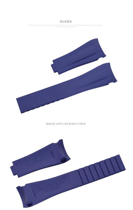 Rolex/ロレックス Oyster Pepetual/オイスターパーペチュアル 39mm 114300に適用 VAGENARI ラバー ストラップ ブルー